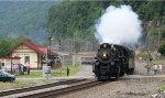 Whistle (from N&W 2173 I understand) screaming as NKP 765 passes the Matewan station replica