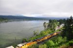 Eastbound U.P. train passes Cascade Locks, OR in the Columbia Gorge