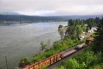 Eastbound U.P. train passes Cascade Locks OR in the Columbia Gorge