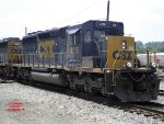 A pair of CSX SD40-3's idling in Connellsville Yard.