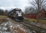 Morristown & Erie Toys For Tots Train passes the old freight station