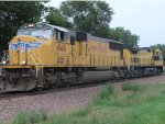 UP 4146 and CNW 8701 on westbound light power move