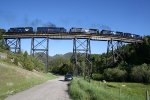 Austin Creek Trestle, 5 mid helpers on a coal train