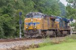 UP 7813 & CSX 5445 wait for a west bound intermodal to pass