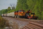BNSF 4604 leads the 836 local into the siding to meet 2 Eb's.