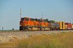 BNSF 7871 leads a freight into the town of elsberry mo.