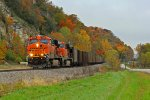 BNSF 6206 is seen leading a sb coal along the bluffs of foley mo.