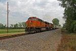 BNSF 4124 heads NB with a loaded cement train.