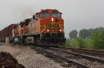 BNSF 4166 leads a freight sb down the k line,