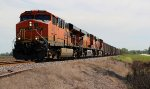 BNSF 5855 leads a coal train Nb with 3 Gevos on tap,