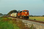 BNSF 5801 rocks a sb freight toward old monroe.
