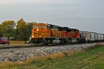 BNSF 8834 hauls a sb freight with all coal power.