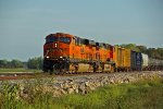 BNSF 7392 heads the 836 local Nb thur Old Monroe MO.