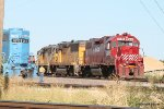 HLCX 3845 and fellow Geeps switch auto racks in the UP Yard