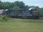 CSX 6471 and 2259 Prepare to Set Out Empty Hoppers at NS Interchange Yard