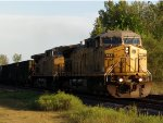 The sun hits the nose of UP 6837 on the Tennessee Valley coal bucket