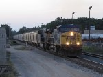 Just after sunset, CSX 133 & 3009 leads Q334-15 east off the hardest part of the climb out of town