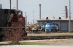 NCLX 2003 sits at the old roundhouse as the 8860 waits