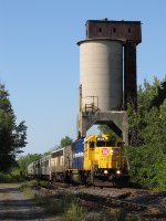 The old coaling tower looms as ONT 1809 leads the Northlander south