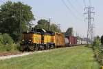 ETL 104 & 107 slowly roll south with about 40 cars for Ojibway Yard