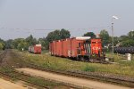 L580 drags four KCSM boxcars out of the yard to be spotted in another track