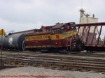 WC 1569 derailed at Stevens Point after running into the side of a departing northbound train.
