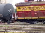 WC 1569 dug in after hitting a northbound train departing Stevens Point.