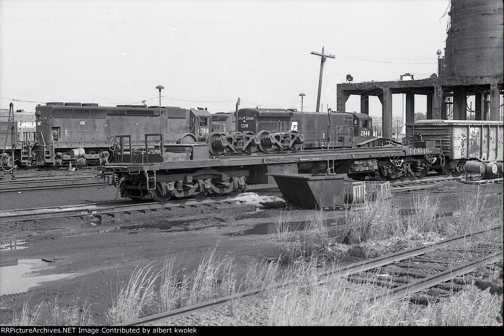 Baggage car conversion to wreck train truck tender