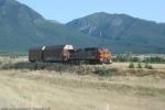 BNSF 639 climbing Evaro hill with 2 Boeing cars.