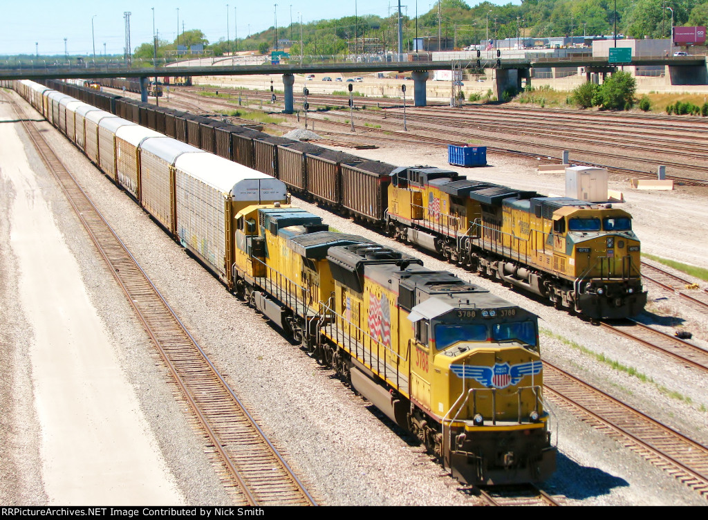 UP 3788, CNW 8646, UP 6713, and UP 6715