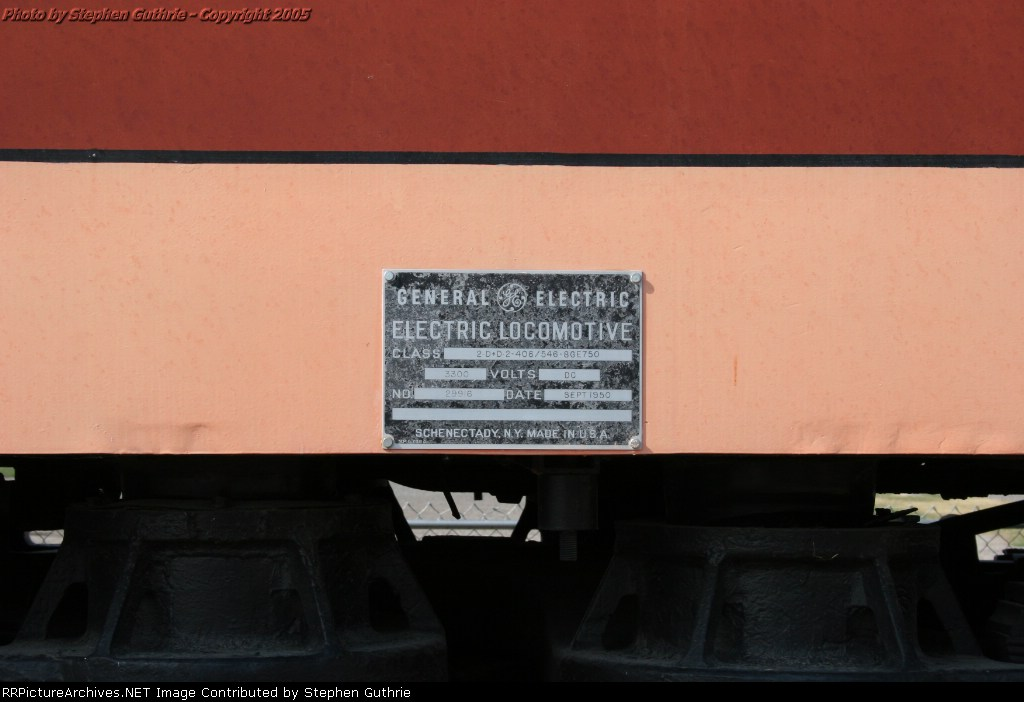 Builders Plate on the Milwaukee Road E70 at Deer Lodge, Montana.