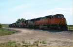BNSF 8270 on coal empties at Hodges, Montana.
