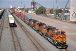 Eastbound stack train departs after crew change
