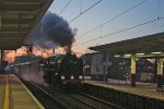 70013 Oliver Cromwell arriving at Potters Bar at sunrise