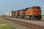 BNSF 7545 leads a EB z train thur the southern part of KS.