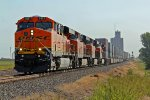 BNSF 7827 leads a wb stack train down the panhandle sub at 70MPH.