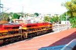 KCS ES44AC leading a train at Queretaro