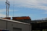 BNSF 7332 takes a EB stack over the highline.