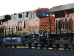 Zoom in Shot of BNSF 7078 as she Highballs Downhill to Winslow, AZ.