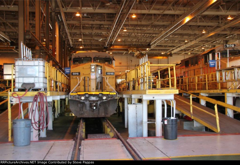 UP 6916 in the North Platte maintenance facility