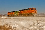 Westbound Snow Coach - BNSF 6144, BN 12121, and BNSF 6414