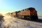 BNSF 4844 kicking up snow