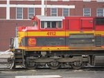 Kansas City Southern SD70ACe no. 4112 facing east towards the Missouri River bank near downtown Atchison, Kansas.