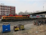 Kansas City Southern SD70ACe no. 4112 and SD70MAC no. 3911 near downtown Atchison, Kansas.  Less than a mile to the east (left) lie the banks of the Missouri River.