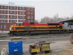 Kansas City Southern SD70ACe no. 4112 and SD70MAC no. 3911 near downtown Atchison, Kansas.  Less than a mile to the west (right) is a rail museum where the Kansas City Southern has donated a bay window caboose in excellent condition.   