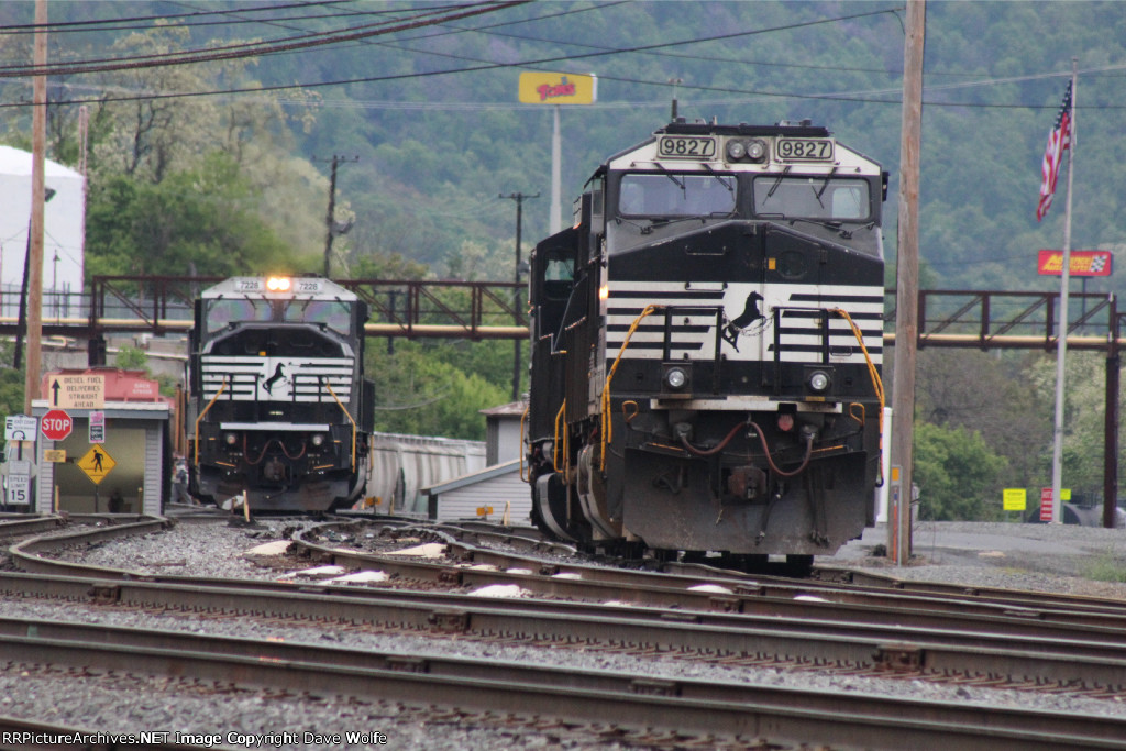 NS 9827 sitting in the yard awaiting orders.