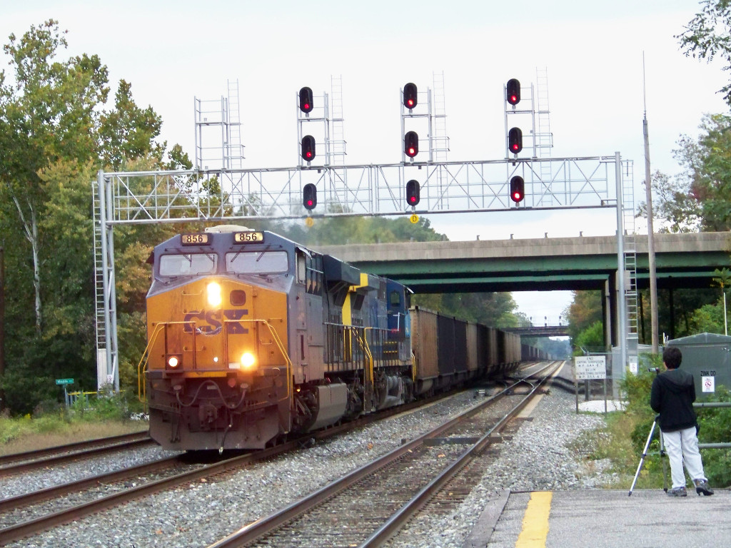 Newer power is escorting this westbound coaler