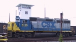 CSX 6125 sits beside the yard tower