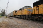 UP 4493 trails on this nb freight/auto