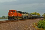BNSF 9321 leads a load of Oil Sb with more bnsf coal power on the point.
